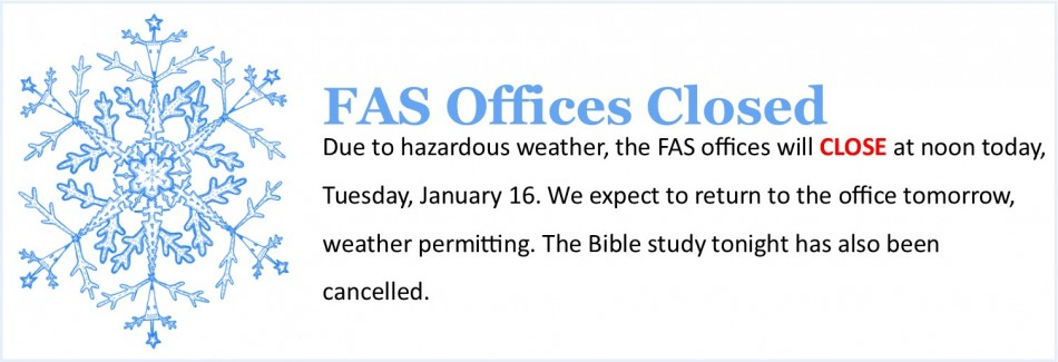 Offices Closed - hazardous weather